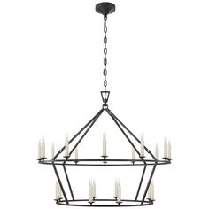 "SPECIFICATIONS Height: 33"" Width: 40"" Chain Length: 6' Canopy: 6"" Round Socket: 20 - E12 Candelabra Den"