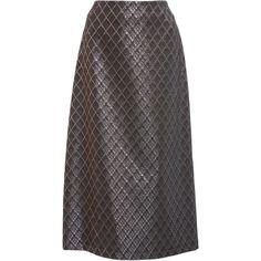Laura Urbinati Plaid Jacquard Skirt (20.175 RUB) ❤ liked on Polyvore featuring skirts, grey, high waisted midi skirt, tartan skirt, gray skirt, mid-calf skirt and grey plaid skirt