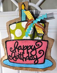 Happy Birthday burlap door hanger - could hang on their bedroom door