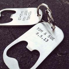 Great gift idea for groomsmen and bridesmaids. Each stainless steel bottle opener has the dimensions of a military dog tag, and can be custom stamped with anything you'd like - a name, wedding date, wedding role, quote, lyric, etc.