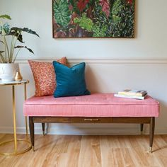Find out a how a battered thrift store coffee table became a fabulous mid century bench in this DIY.