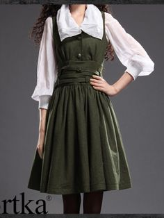 twisted wool belt dress #asianicandy #artka #indiefashion it looks so old fashioned but i love it! for some bizarre reason this reminds me of a green version of Belle's normal outfit in Beauty and the Beast.....