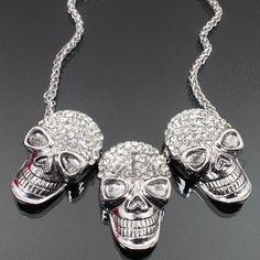 3 Rhinestone Skulls Fashion Necklace