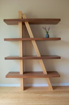 Off-Kilter Shelf quirky solid timber shelving by NESTtimbercraft Room Furniture Design, Shelf Furniture, Diy Pallet Furniture, Timber Shelves, Wooden Shelves, Diy Wood Projects, Wood Crafts, Ceramic Shop, Woodworking Projects