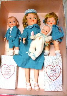 "1957 Effanbee ""MOST HAPPY FAMILY"" set of dolls in original box"
