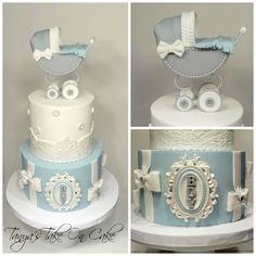 gray and white baby shower | Grey and white baby shower cake. Pram/stroller topper. Lace border ...