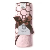 Soft Terry Velour! SAVE TODAY! SwaddleDesigns Hooded Towel - Pastel Pink with Brown Mod Circles. $14.99 (reg $30)