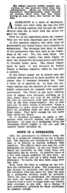 "WWI, 2 June 1917. Submarines. ""No other matter holds public attention at the present time like the submarines."" - The World's News, Sydney"