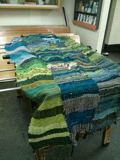Saori blanket in 4 panels in colours of the sea -  woven by Jen www.saorisaltspring,com