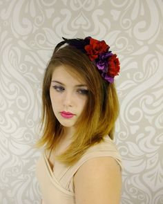 Flower Crown, Day of the Dead Flower Headband, Red and Purple Skull headband, Halloween Headband, Frida Kahlo, Mexican Flower Crown, Boho by RuthNoreDesigns on Etsy