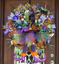 Halloween Wreath with Shiny Black WITCH Hat TUTU and by decoglitz