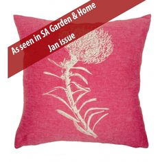 Pincushion Protea Cushion Cover – White on pink | Buy Online in South Africa | MzansiStore.com Pink Cushions, Home And Living, South Africa, Throw Pillows, Cover, Stuff To Buy, Textiles, Fire, Lifestyle