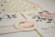 Custom Hand Painted Wedding Invitation Suite/Set by firstsnowfall