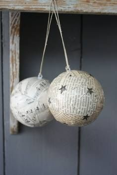 DIY Christmas ornaments - Use old books or music sheets and mod podge to styrofoam balls. Use Christmas stickers accents Clay Christmas Decorations, Diy Christmas Ornaments, Christmas Projects, Holiday Crafts, Holiday Fun, Noel Christmas, Homemade Christmas, All Things Christmas, Christmas Balls