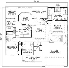 Traditional Style House Plan - 3 Beds 2 Baths 1525 Sq/Ft Plan #17-2292 Floor Plan - Main Floor Plan - Houseplans.com