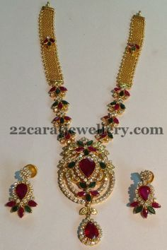 Jewellery Designs: Gemstone Necklace 48 Gms
