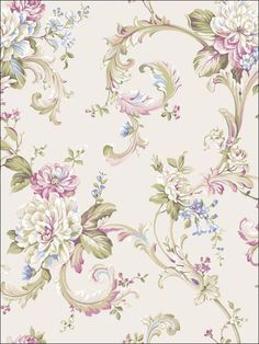 Floral Scroll Wallpaper by York Wallpaper. Take an additional off all wallpaper and fabric! Wallpaper Stores, Love Wallpaper, Pattern Wallpaper, Wallpaper Backgrounds, Wallpaper Borders, Wallpaper Online, Vintage Flowers, Vintage Floral, Traditional Wallpaper