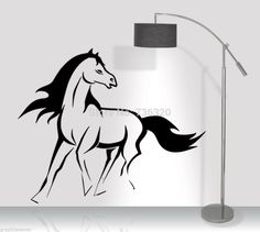 """Running Horse DECAL -LARGE 24"""" X 32"""" BLACK VINYL WALL DECAL African Animal Mural Art wall decor Romoveable Home decoration $23.99"""