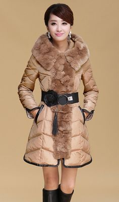 Spliced Faux Fur Embellished With Belt Stylish Hooded Collar Long Sleeve Women's Coat