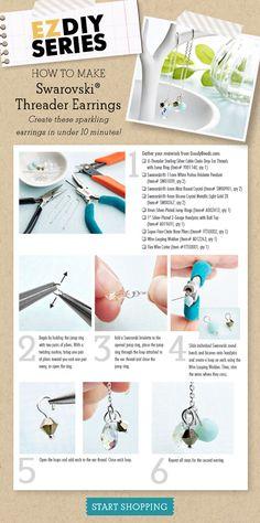 How to make Swarovski Threader Earrings. Diy Earrings Tutorial, Diy Earrings Easy, Diy Earrings Stones, Wire Earrings, Diy Jewelry Inspiration, Jewelry Ideas, Swarovski, White Gold Jewelry, Earring Display