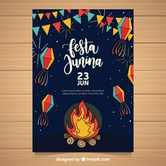 Festa junina flyer with traditional elements Free Vector Flyer Design, Web Design, Graphic Design, Design Ideas, Partying Hard, Art Classroom, Illustrations And Posters, Vector Free, Diy And Crafts