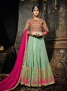 Buy Green Net Long Anarkali Suit 84619 online at lowest price from huge collection of salwar kameez at Indianclothstore.com.