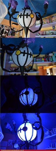 Yo dawg, I heard you liked Chandelure so I made a Chandelure chandelier for ya. | Pokemon ceiling light | Chandelure #609 | geek home decor | DIY Pokemon Room, Pokemon Craft, Pokemon Party, Pokemon Fan, Ghost Pokemon, Pokemon Decor, Pokemon Stuff, Pokemon Dolls, Chandelure Pokemon