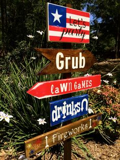 Patriotic Directional Signs, 4th of July / Memorial Day Party Signs, Yard Stake, Custom Colors Available