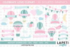 Download Wedding hot air balloon clipart, love clipart, valentine day today! #lapeticrafter #hotairballoon #valentinesday #loveclipart #instantdownload #designbundles Hot Air Balloon Clipart, Flying Balloon, Free Design, Diy Design, Baby Shower Clipart, Shopping Sites, Online Shopping, Create Invitations, Jewelry Case