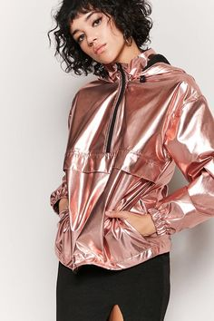 Product Name:Metallic Hooded Anorak, Category:outerwear_coats-and-jackets, Indie Outfits, Girly Outfits, Vintage Outfits, Cute Outfits, Holographic Fashion, Holographic Glitter, Metallic Jacket, Girl Fashion, Fashion Outfits