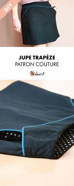 Jupe trapèze, patron couture, en français, créatrice Gasparine #couture #tuto #diy #patron #gasparine