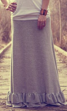 Maxi Skirt with Ruffle bottom