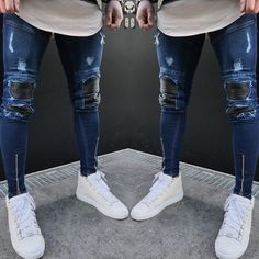 Newest Arrivals Fashion Men's Washed Ripped Destroyed Jeans – GaGodeal Ripped Biker Jeans, Slim Fit Ripped Jeans, Denim Jeans Men, Destroyed Jeans, Knee Hole Jeans, Light Blue Skinny Jeans, Skinny Pants, Camouflage Jeans, Best Jeans
