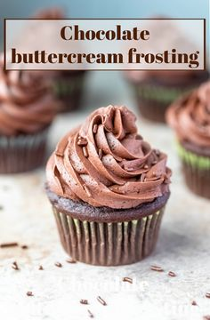 This easy chocolate buttercream frosting is silky chocolate perfection! Made with cocoa powder, this not too sweet frosting is perfect for any cake or cupcake!