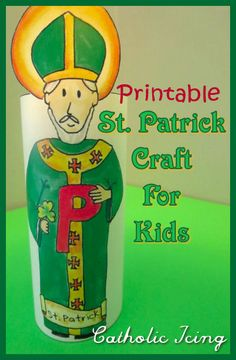 St. Patrick's day craft that is actually about St. Patrick. This is perfect for Catholic kids on the feast day of St. Patrick! It's fun, printable, easy, and he's even holding a little shamrock. :-)