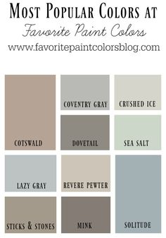 Happy Thursday everyone! Today I'm sharing with you the top 10 most popular colors here at FPC. I have been doing this blog for over 6 years now and have compiled hundreds of rooms and paint colors, h