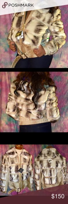 Faux fur snake skin tan beige belted coat jacket This one of a kind faux fur coat from Kimora Lee Simmons' BabyPhat line will keep you warm while looking oh so fabulous! Features a quilted fur pattern, faux snake pattern, studded belt. Gold trim with rhinestone embellished logo on back. Brand new with tags. Firm price/ no offers Baby Phat Jackets & Coats