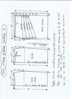 Esquema de modelagem de saia lápis com drapeado tamanho 40.