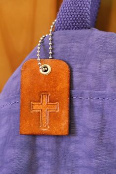 Religious Cross Bag Charm  Leather Christian by TinasLeatherCrafts. Repin To Remember.