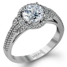 Unique and Delicate White Gold Halo Diamond Engagement Ring @ Wedding Day Diamonds #SimonG
