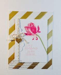 Greeting card created with Lotus Blossom stamp set.  Inspired by example from Stampin'Up! 2015 Sale-A-Bration catalog. tulipstouchstamps.stampinup.net
