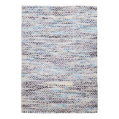 Teppich Smooth Comfort I - Jute / Baumwollstoff - Beige / Blau - 190 x 290 cm, Tom Tailor