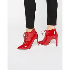 Truffle Collection Patent Pointed Toe Lace Up Heeled Boots ($57) ❤ liked on Polyvore featuring shoes, boots, ankle booties, red, red lace up boots, lace up booties, patent leather booties, high heel booties and lace up heel boots