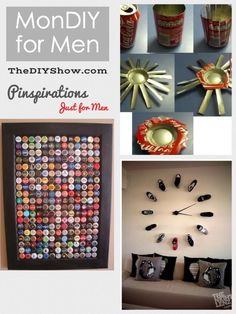 It's Monday, and it's time for MonDIY Guy A roundup of 3 Pinterest inspirations Especially For Guys that includes a link to its tutorial or source. Bottle Cap Display DIY Soda Can Ashtray DIY Footw...