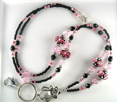 ID Holders and Lanyards | ... Bloom Lampwork Glass Beaded ID Lanyard Badge Holder - Lanyards