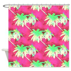 Palm Trees Pattern Hot Pink Lime Green Shower Curt by Flip Flop Fantasy Flamingo Paradise - CafePress Green Shower Curtains, Custom Shower Curtains, Flip Flop Fantasy, Palm Trees, Flamingo, Hot Pink, Lime, Tropical, Create