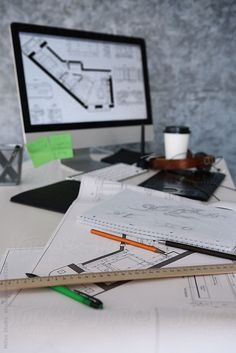 Architect Office by Milles Studio - Architect Office. Blueprint, computer and no people - Architecture Desk, Architecture Company, Marca Personal, Personal Branding, Civil Engineering Design, Interior Design Presentation, Graduation Photography, Workspace Inspiration, Dream House Exterior