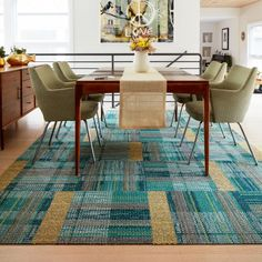 This area rug features Tweed Indeed in Maize and Be Cool in Teal.  This area rug contains quarter cut tiles.  To assemble your rug, just use the FLORdots in the box with your squares.