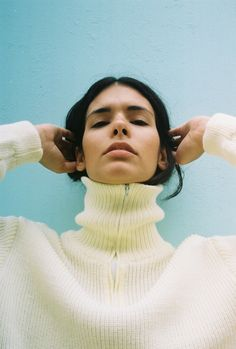 Happenings: A New Sensation at Mother London Vicky Grout, Portrait Ideas, Portraits, Knitting Stitches, Pastels, Turtleneck, Beauty Women, Knits, Feel Good