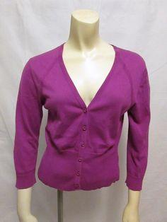 Cabi 865 Little Peony 100% Cotton Purple Cropped Cardigan Sweater S #CAbi #Cardigan